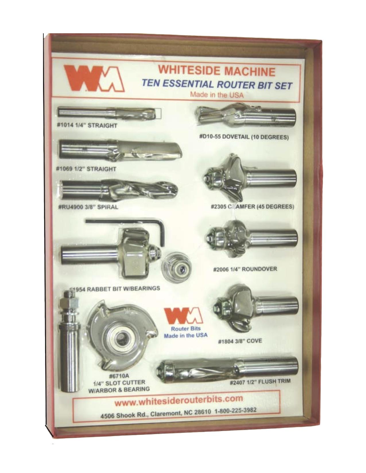 Whiteside #410 10-Piece Essential Router Bit Set