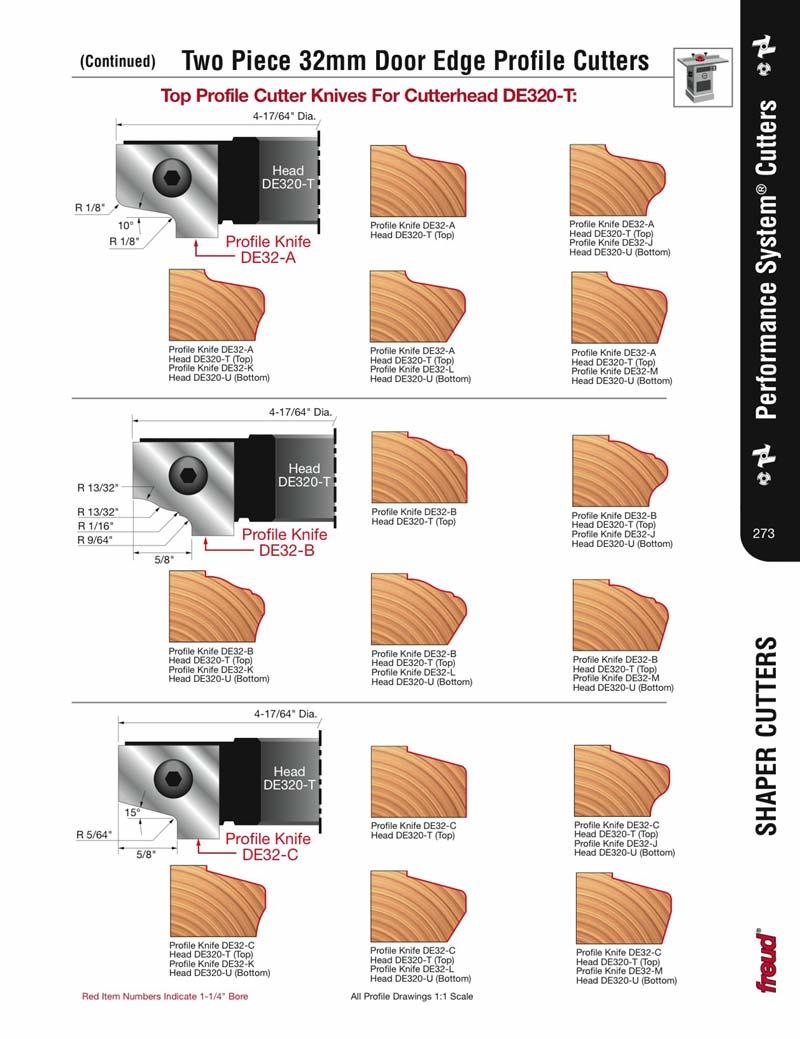 Freud DE32-A Performance 32mm System Shaper Cutter Profile Set''A''