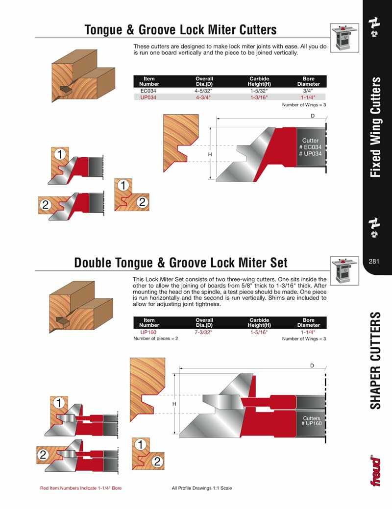 [FREUD UP160] Double Tongue & Groove Lock Miter Carbide Tipped Shaper  Cutter Set (1-1/4