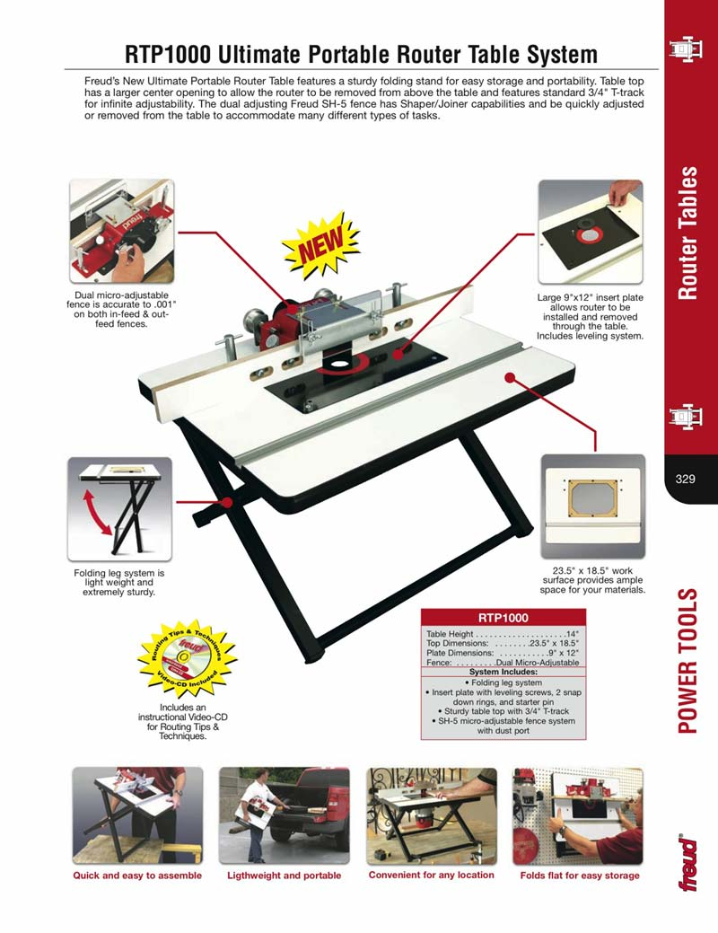 Freud rtp1000 18 12 x 235 portable router table contents folding leg system insert plate keyboard keysfo Gallery