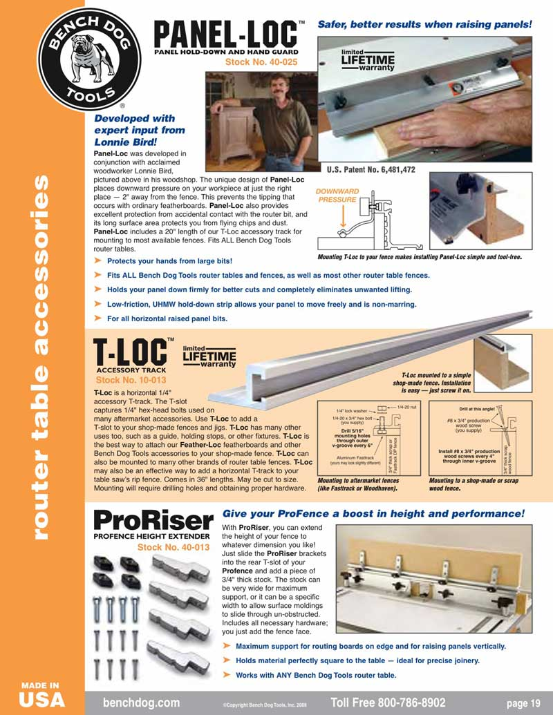 bench dog router table. click to view larger image bench dog router table