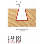 "[FREUD 22-124]   1/2"" Diameter 14-Degree Dovetail Router Bit (1/4"" Shank)"