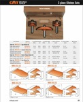 "[CMT 800.512.11]  Three Piece Kitchen Bevel Angle Raised Panel Router Bit Set With 1/2"" Shank"