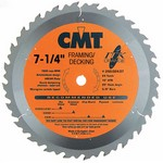 "[CMT 250.024.07]  7-1/4"" Diameter X 24T HDF Industrial Thin Kerf Framing/Decking Saw Blade With 5/8"" <> Arbor (.071 Kerf)"