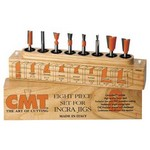"""[CMT 800.500.11]  8-Pc Dovetail & Straight Router Bit Set, 1/4"""" Shank, In Wooden Case, For Incra And Jointech Jigs"""