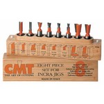 """[CMT 800.501.11]  8-Pc Dovetail & Straight Router Bit Set, 1/2"""" Shank, In Wooden Case, For Incra And Jointech Jigs"""