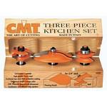 "[CMT 800.513.11]  Three Piece Kitchen Ogee Raised Panel Router Bit Set With 1/2"" Shank"