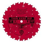 "[FREUD LU87R010]  10"" Diameter X 24T Flat Industrial Thin Kerf Rip Carbide-Tipped Saw Blade With 5/8"" Arbor (.094 Kerf)"